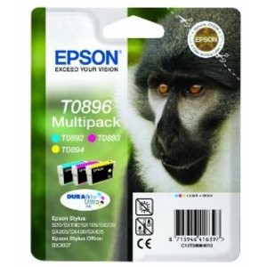 Genuine Multipack 3-Colour Epson T0896 Ink Cartridge