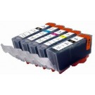 *Compatible Canon 5 Cartridges PGI-525Black CLI-526Bk/C/M/Y Same Ink Cap As Originals With Chips