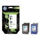 Genuine Black HP 21 &amp; Tri-Colour HP 22 Ink Cartridge Multi Pack SD367AE