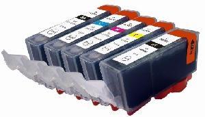 *Compatible Canon 5 Cartridges PGI-525Black CLI-526Bk/C/M/Y Same Ink Cap As Originals With Chips