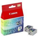 Original Tri-Colour Canon BCI-16 Ink Cartridge Twin Pack - (9818A008)